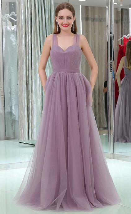 3a388d86b69 In Stock Fashionable Tulle V-neck Neckline Floor-length A-line Prom Dresses