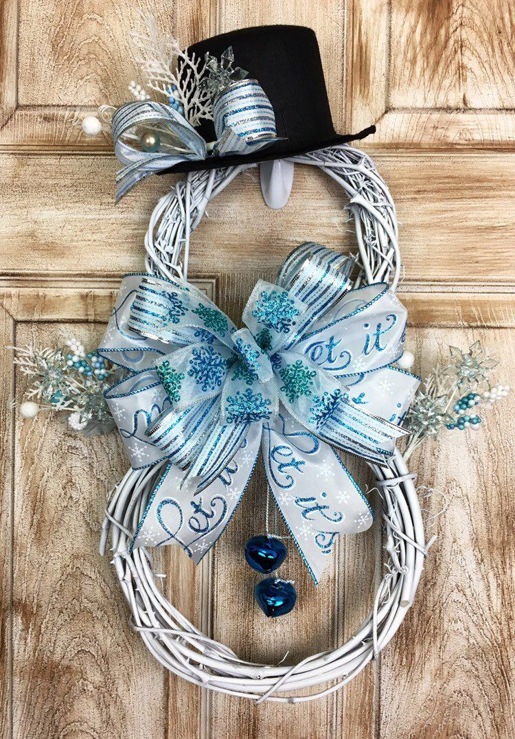 Excited To Share This Item From My Etsy Shop Large Grapevine Snowman Wreath Snowman Wreath Winter W Snowman Decorations Christmas Wreaths Diy Winter Wreath