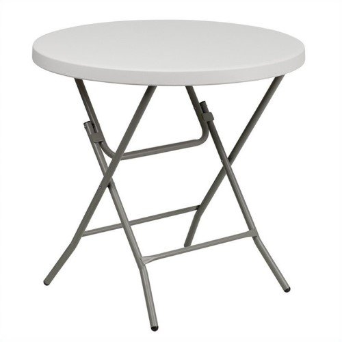 Stupendous Bowery Hill Round Granite Plastic Folding Table In White Home Remodeling Inspirations Basidirectenergyitoicom