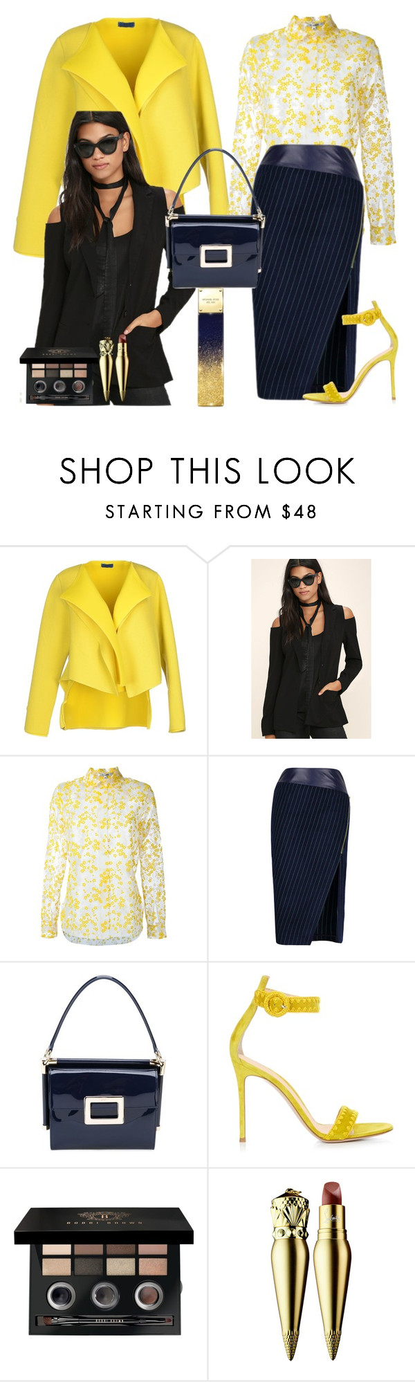 """""""Yellow Blazer"""" by denibrad ❤ liked on Polyvore featuring (212), Rokoko, Carven, Roger Vivier, Gianvito Rossi, Bobbi Brown Cosmetics, Christian Louboutin and Michael Kors"""