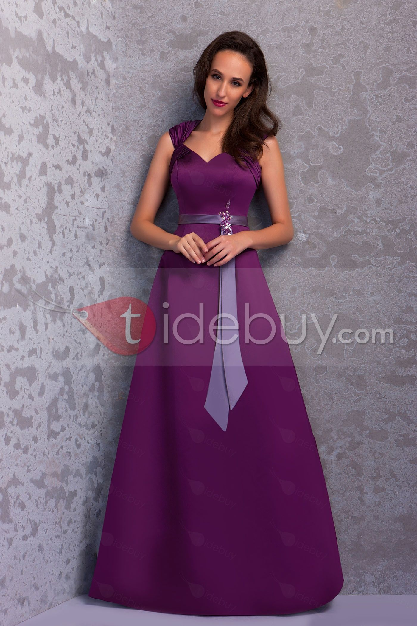 #Bridesmaid #Dresses #Floor-Length Gorgeous A-Line V-Neck Floor-Length Sash Renata's Bridesmaid Dress