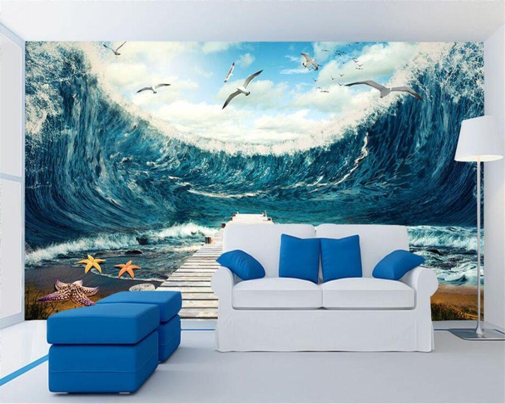 Beibehang Custom Wallpaper Living Room Bedroom Mural Sea W