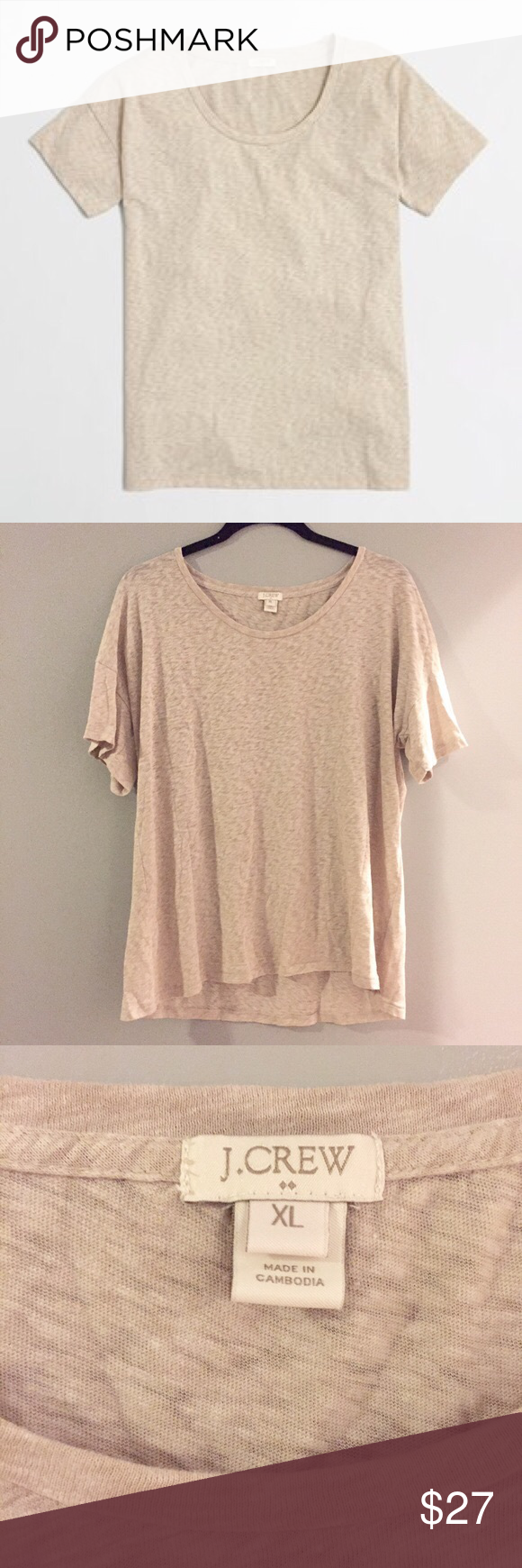 J.Crew Factory Cotton Drop-Shoulder Tee Beige EUC - ONLY WORN ONCE (a little to oversized than I expected - SIZE XL (will fit Large - XLarge) PERFECT CONDITION J. Crew Tops Tees - Short Sleeve