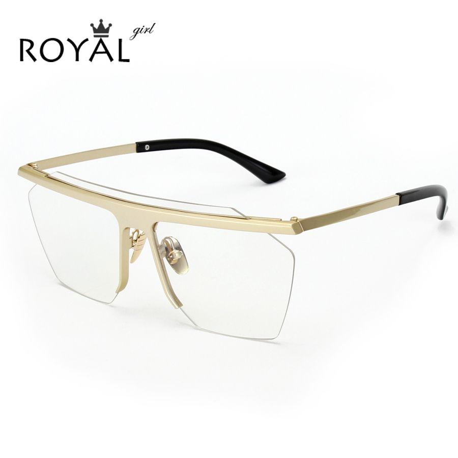 5b0a97de58 ROYAL GIRL 2017 Designer Women Eyeglasses frames Vintage retro rimless flat  lens square sunglasses ss113