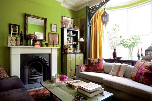Lime green walls latticework pillar frames window quirky ceramics