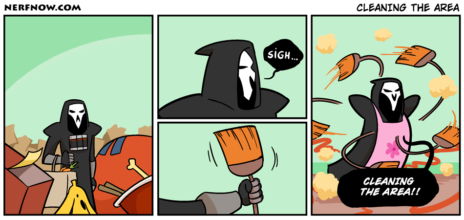 A Play On Words Reaper Says Clearing The Area When He Uses His Ultimate Overwatch Funny Overwatch Comic Overwatch Memes