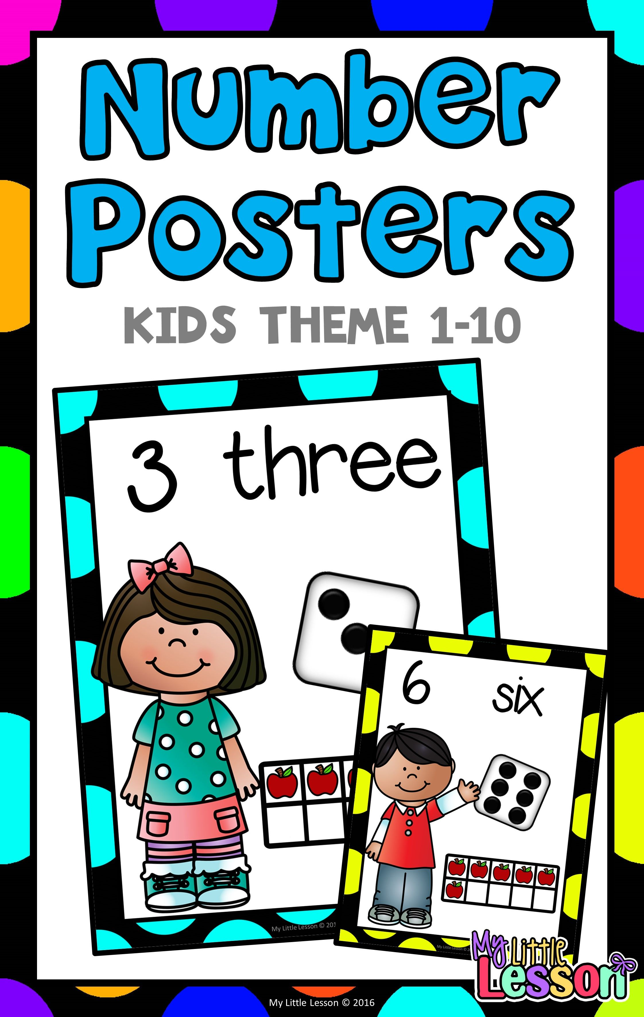 Number Posters 1-10 Kids Theme | Pinterest