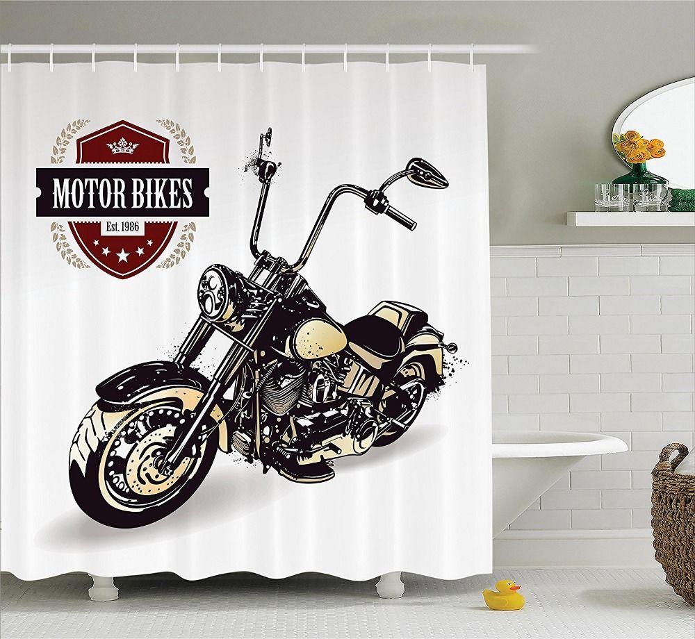 Shower Curtain Motorcycle Decor Cool Chopper Motor Bikes Hippie