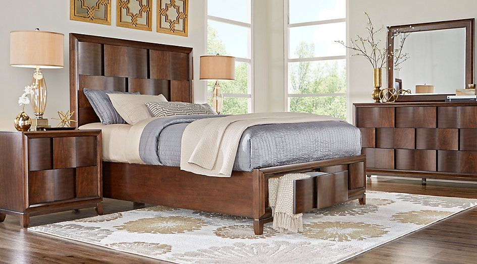 Baybrook Chestnut 5 Pc Queen Panel Bedroom With Storage From Furniture King Bedroom Sets Bedroom Sets Bedroom Sets Queen