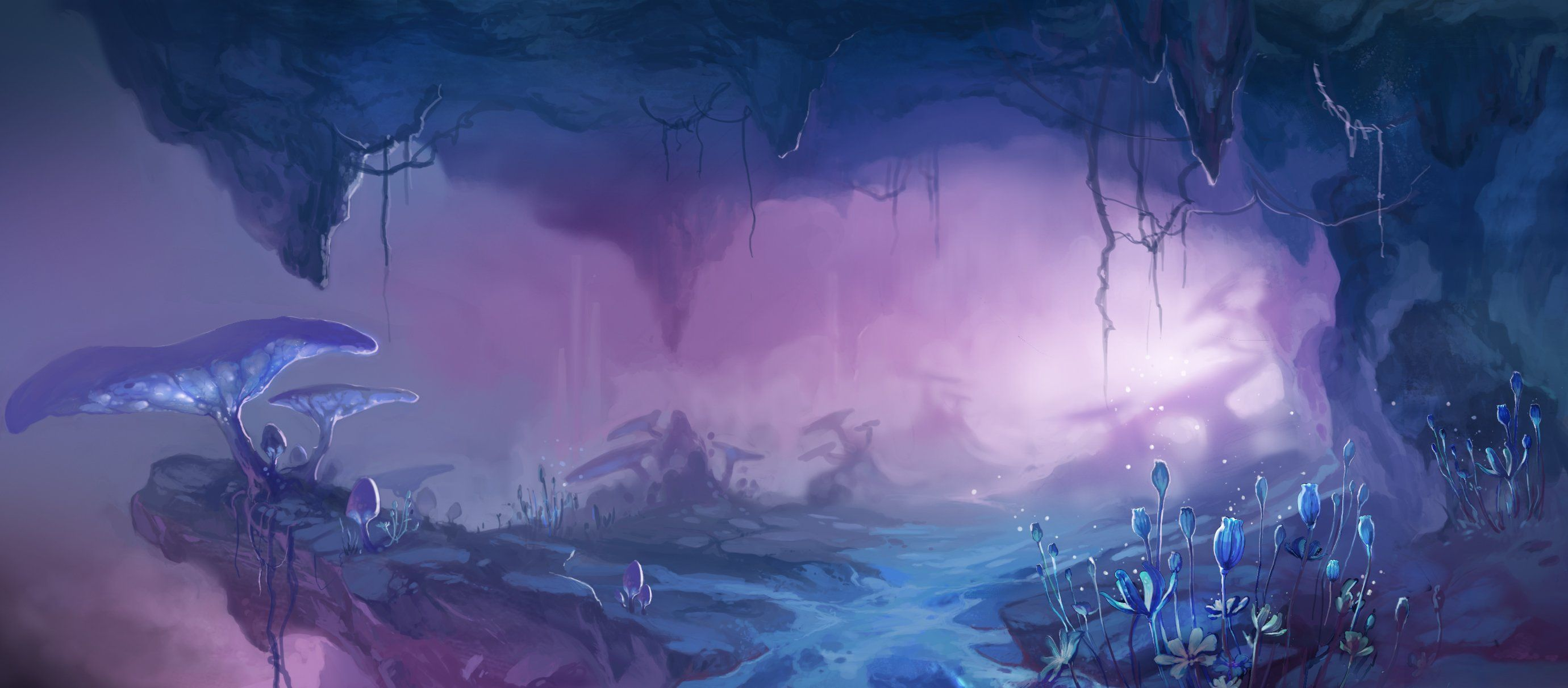 Underdark Cave Fungi Com Imagens Paisagem Fantasia Cenario