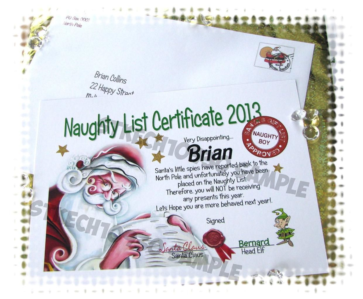 Santa naughty list certificates naughty nice certificate personalised gifts christmas party special occasion supplies ebay letter from santasanta spiritdancerdesigns Images