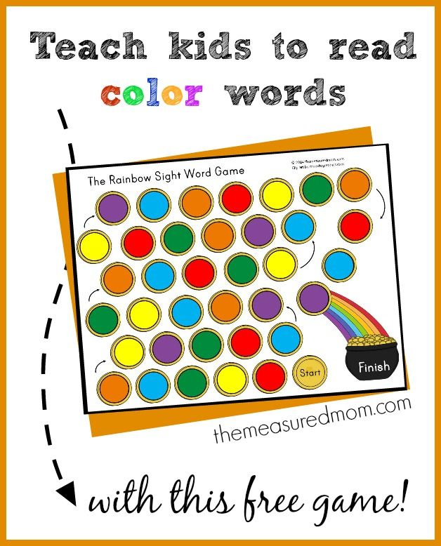 teach kids to read color words with this free rainbow sight word game - Colour Games For Preschool