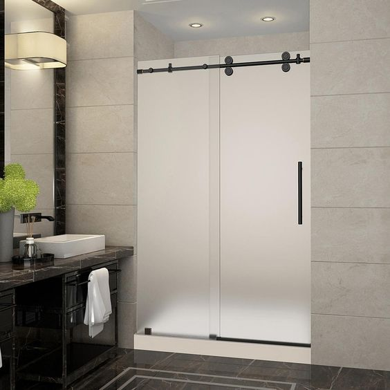 Aston Langham 48 In X 36 77 5 Frameless Sliding Shower Door With Frosted Gl Oil Rubbed Bronze And Right Base
