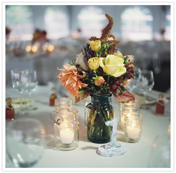 Wedding Centerpieces Using Mason Jars