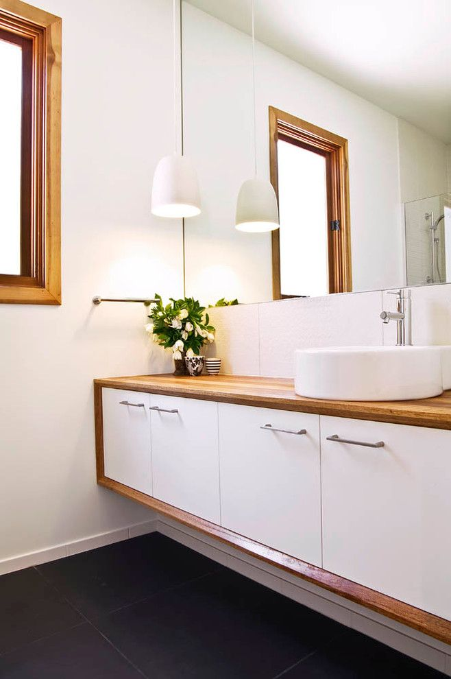 Wood Vanity Top In Bathroom Contemporary With Ceramic Pendant