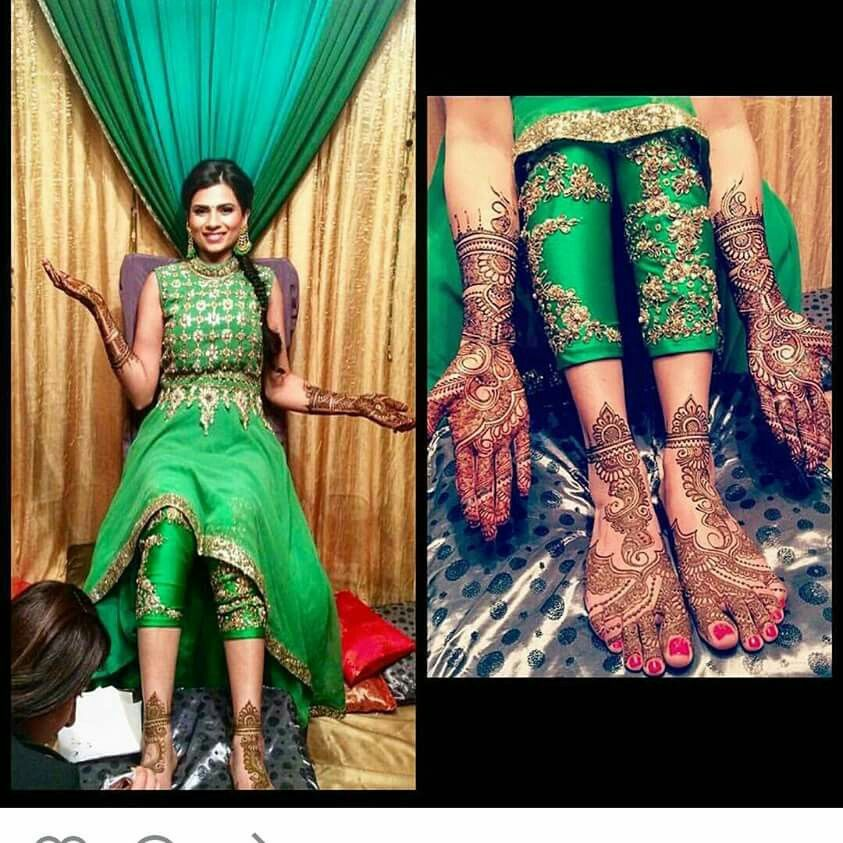 Mehndi Party Clothes : Mehendi outfit embroidered bottoms wedding etc