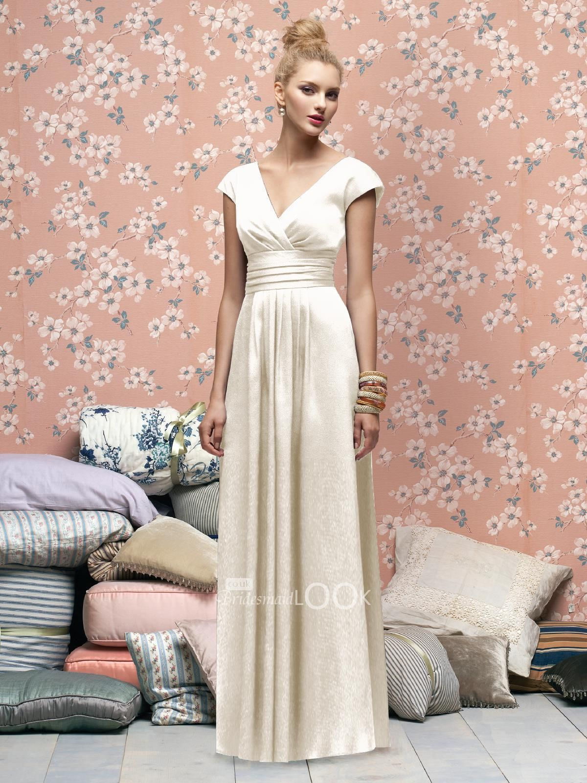 2013 new ivory bridesmaid dress with cap sleeve and v neck wedding 2013 new ivory bridesmaid dress with cap sleeve and v neck ombrellifo Choice Image