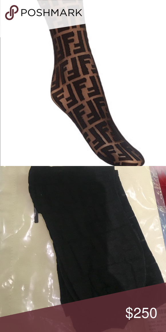 539dc73981361 NEW Fendi logo embroidered socks BLACK New authentic Fendi embroidered socks  in solid black. These socks are ONE size fits all. Low offers will result  in ...