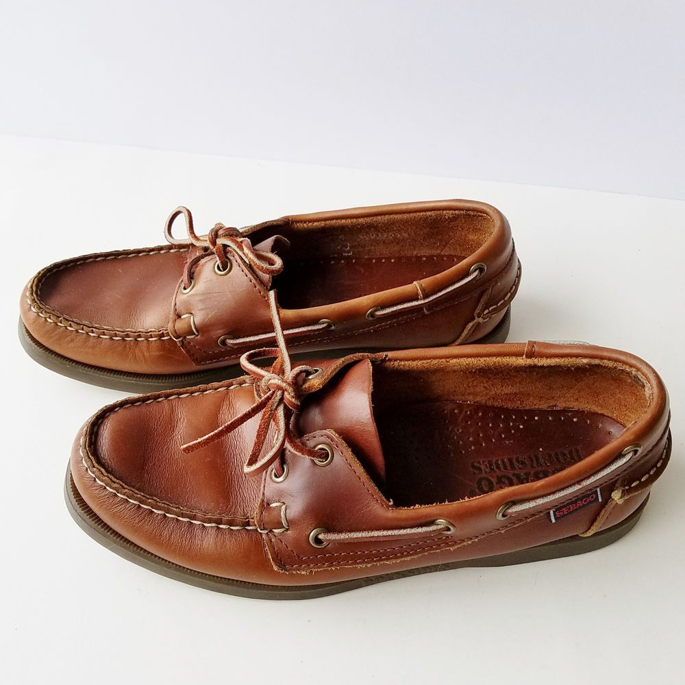1aae3e84a3d Sebago Docksides Mens Leather Boat Deck Shoes Loafers Slides Brown Sz 8M   Sebago  BoatShoes