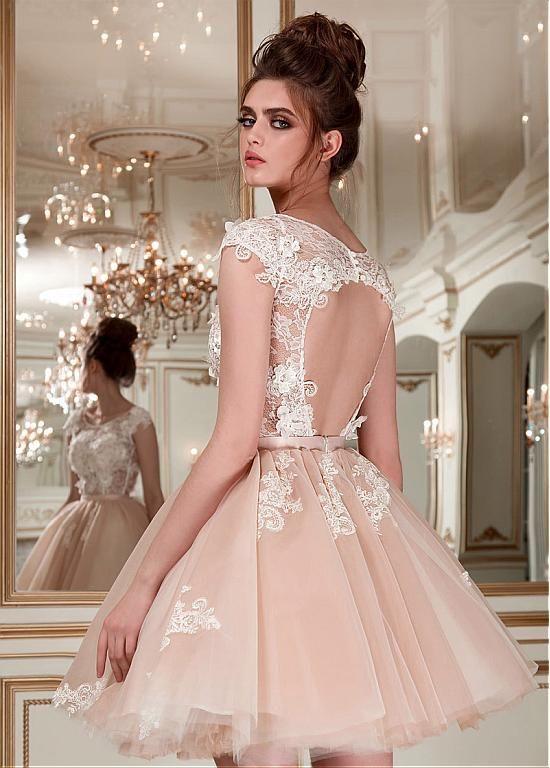 comprar Vestido de boda de tul romántica y encaje escote redondo ...