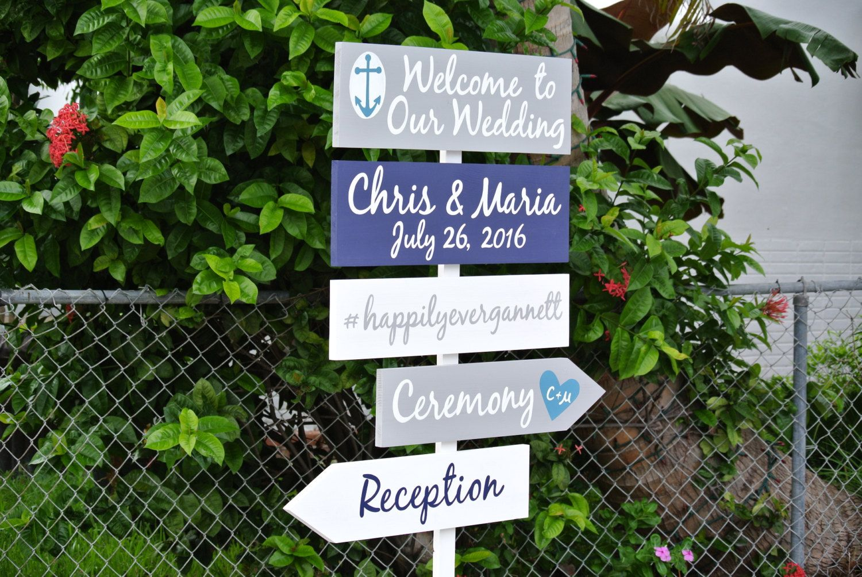 Welcome to Our Wedding Destination Beach Sign, Wedding Nautical ...