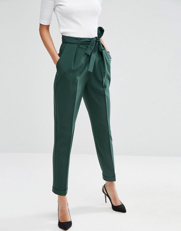aa63a0ae202 Forest green pegged trousers for women s business casual wear from ASOS!