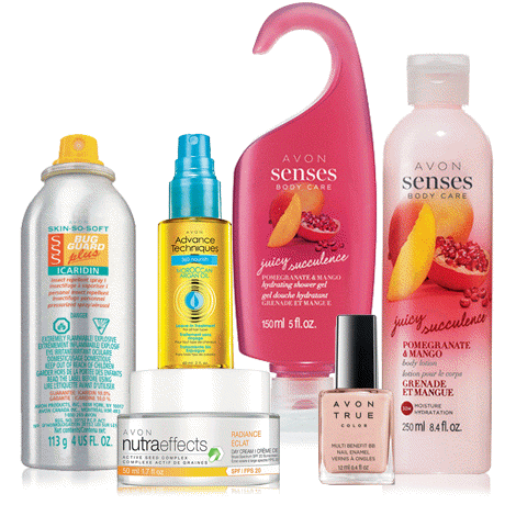 Bring on spring! Includes: Skin So Soft Bug Guard Plus Icaridin Insect Repellent Spray I. Senses Body Care Juicy Pomegranate & Mango Hydrating Shower Gel. Senses Body Care Juicy Pomegranate & Mango Body Lotion. True Color Multi-Benefit BB Nail Enamel in Perfect Pink. Advance Techniques 360 Nourish Leave-in Treatment with Moroccan Argan Oil. NutraEffects Active Seed Complex Radiance Day Cream Broad Spectrum SPF 20.