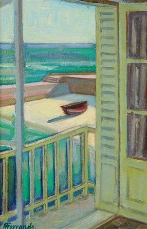 Peinture Algérie - La fenêtre ouverte par Augustin Ferrando - peinture porte et fenetre