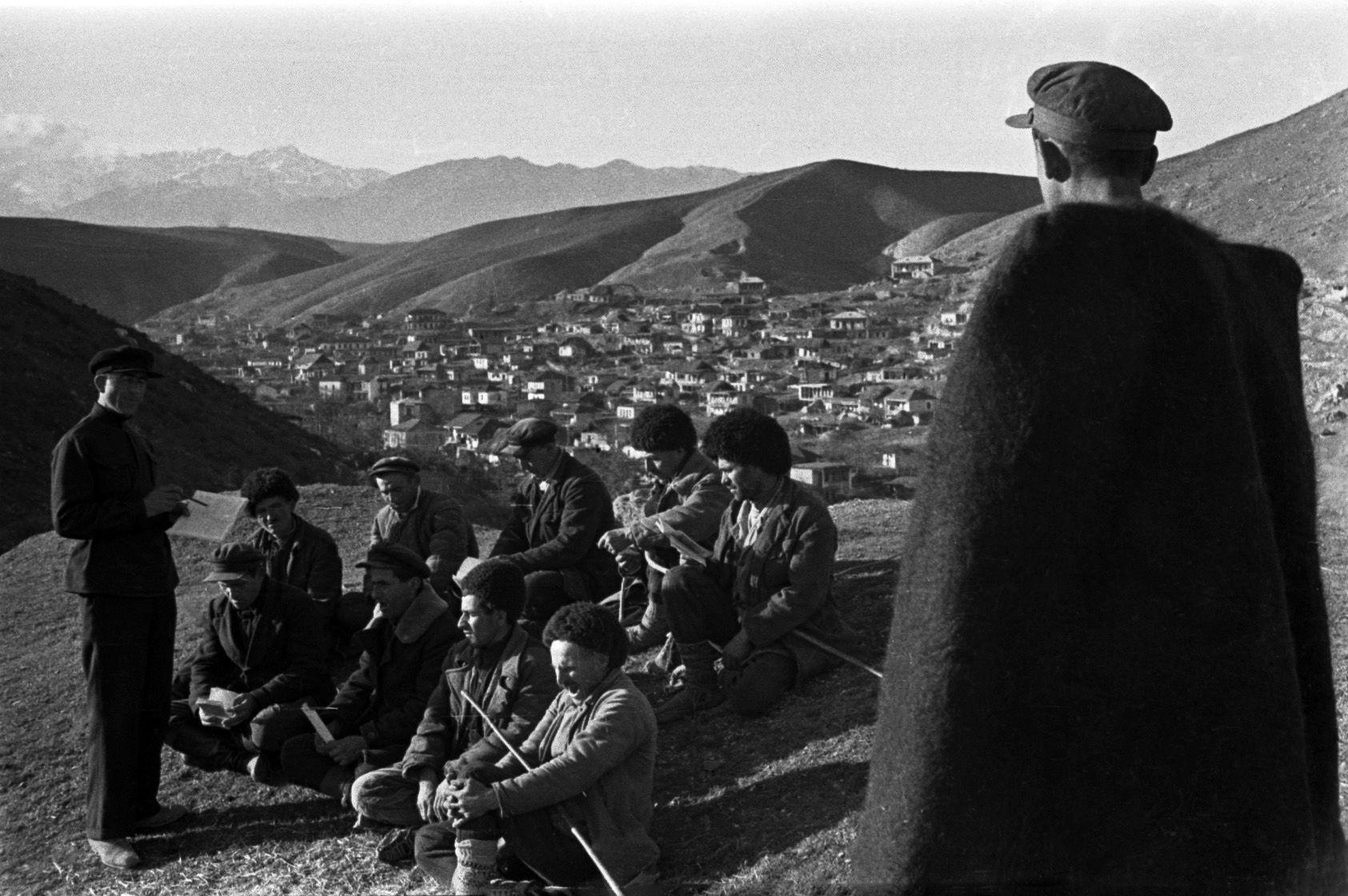 Morning meeting, 1938. Shepherds. Savan district, Armenia