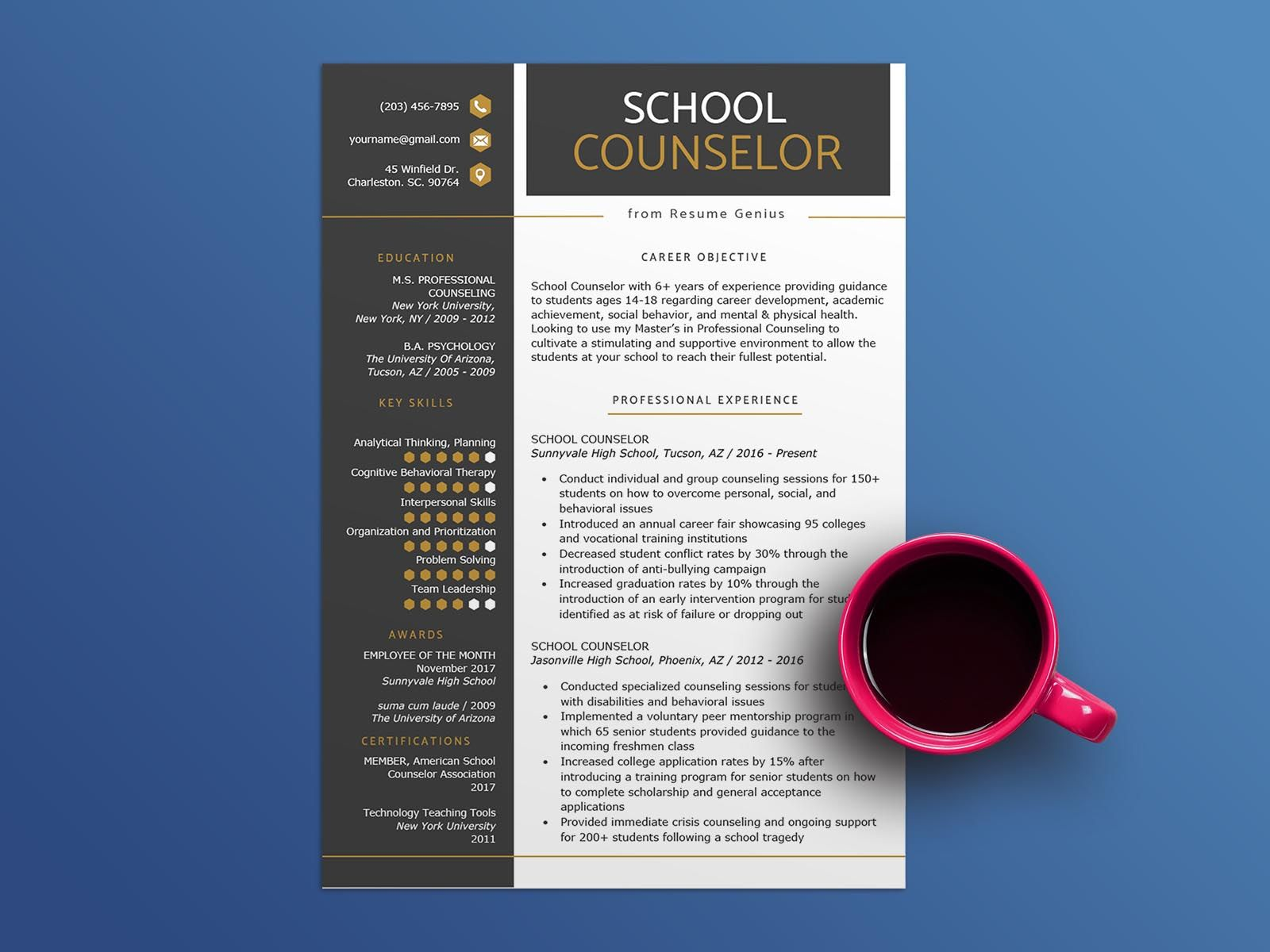 Free school counselor resume template school counselor