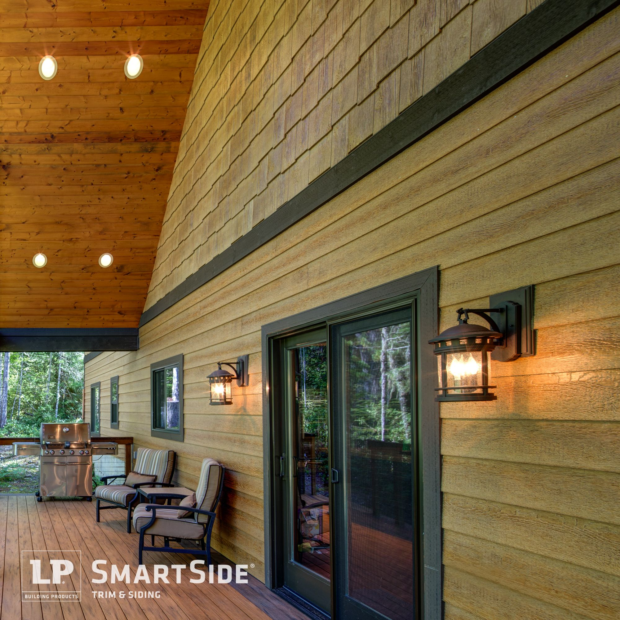 A Back Patio Complemented With Lp Smartside Lap Siding And Cedar Shakes Creates An Outdoor Oasis Engineered Wood Siding Rustic Houses Exterior Siding Trim