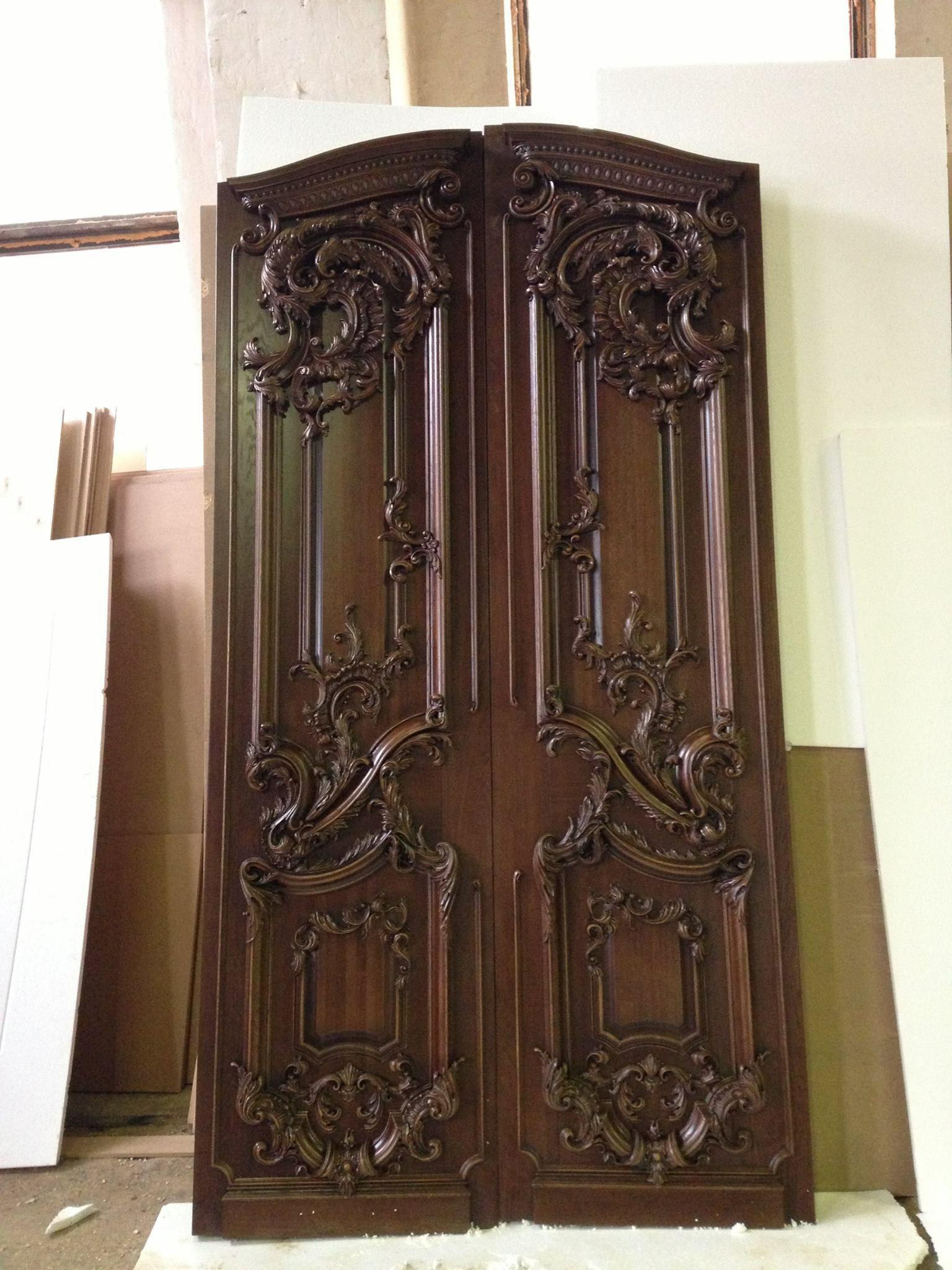 Wood carved front entrance door