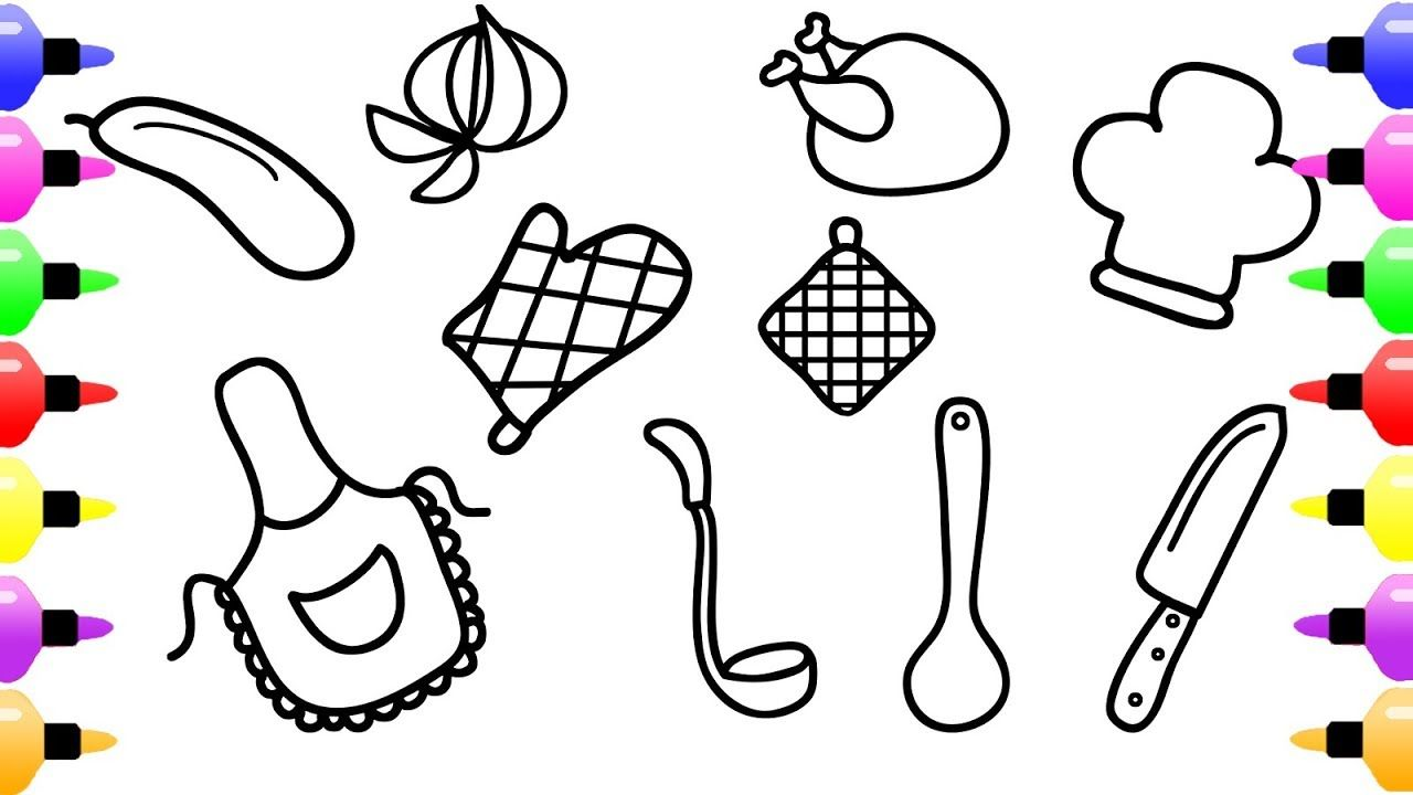 Kitchen Tools And Food Coloring Book For Girls Coloring Pages For