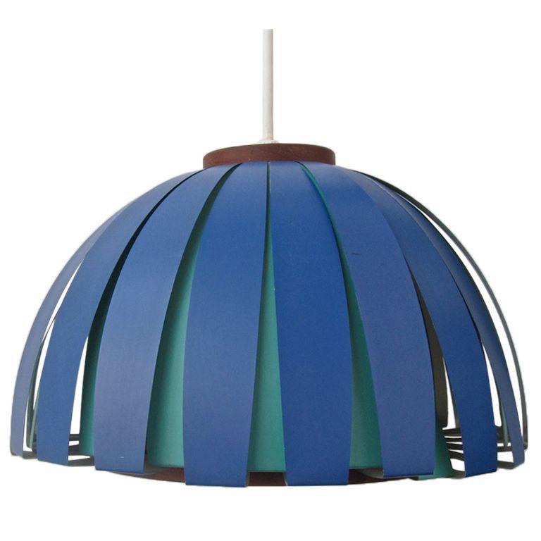 Vintage Teak And Metal Danish Modern Hanging Lamp For The