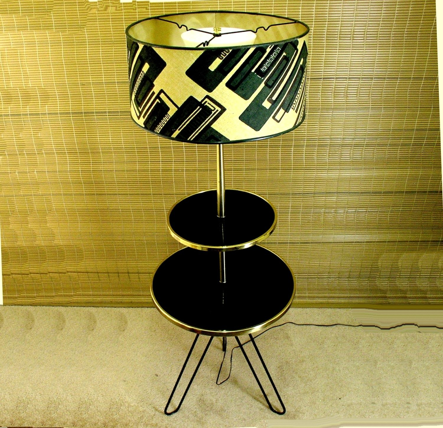 Mid Century Vintage Lights For Sale: Vintage Mid Century Modern 2 Tier Hairpin Leg Table Floor