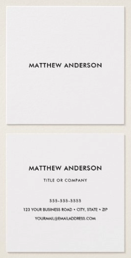 Square, plain, white professional business cards or personal profile cards. A minimal, classic design in square format. Customizable name or other text on the front. On the back are customizable template fields for name, title/company name/specialty and contact information. Ideal for an accountant, developer, attorney, lawyer, doctor etc