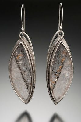 """Nisa Smiley, Jewelry Quartz Marquise Window Earrings; silver. """"My work is equally influenced by the nature-inspired styles of the Japanese culture and the Art Nouveau era. I strive to combine five elements of nature that speak most strongly to me: color, pattern, texture, organic shape, and metal."""