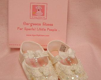 eeab09a14fee Personalised Baby Girl s Christening or Baptism Shoes