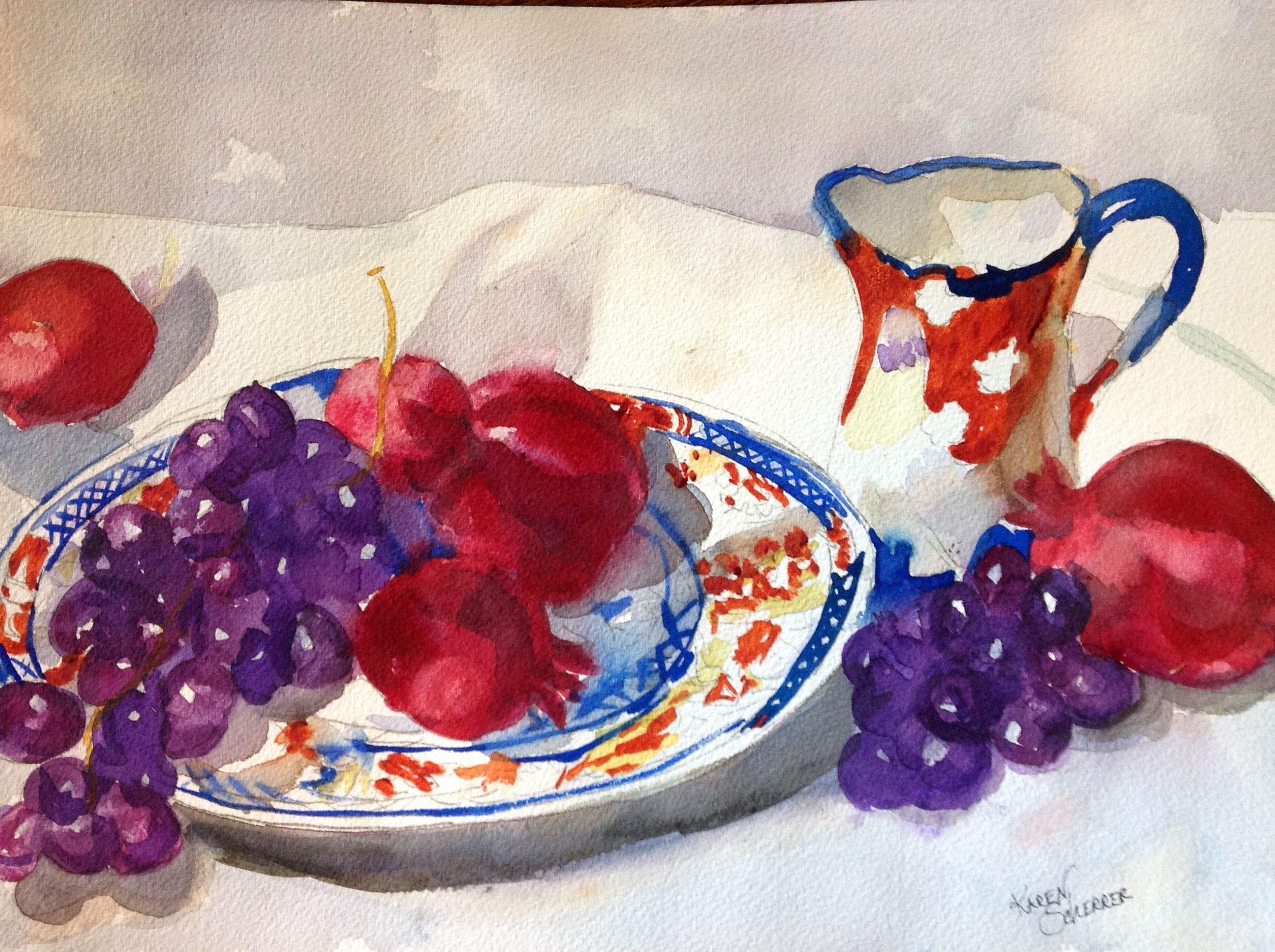 Watercolor artists in texas -  Persimmons On A Plate By Texas Watercolor Artist Karen Scherrer
