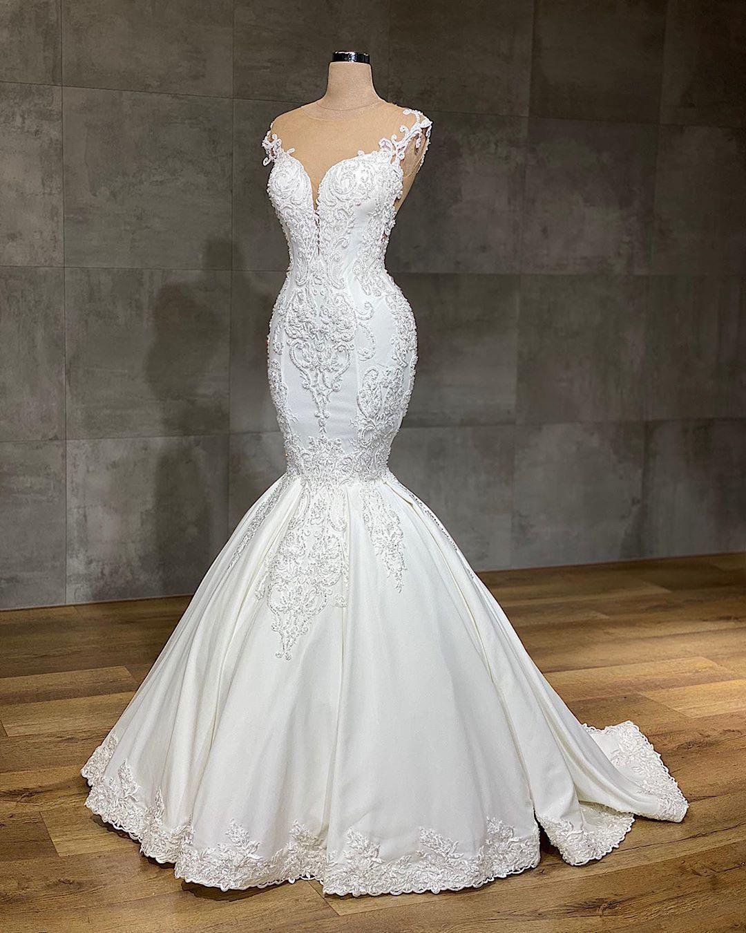 Designer Brautkleider Meerjungfrau  Hochzeitskleider mit Spittze