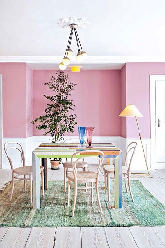 pink walls with white washed floors and colorful table / sfgirlbybay ...
