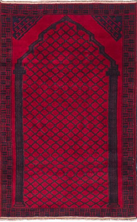 """2'8"""" X4'5"""" Vintage Afghan Wool rug, Hand woven Afghan rug, Red and black Wool rug, Vintage Afghan, prayer rug,"""