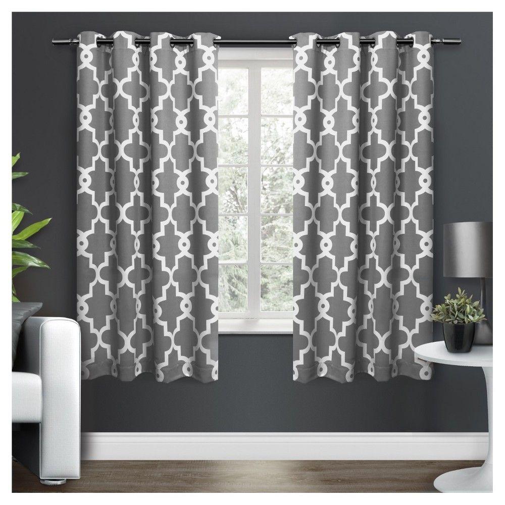 Ironwork sateen woven room darkening window curtain panel pair black