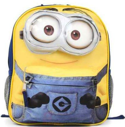 "16/"" Despicable Me Minions Large Blue School Backpack 3D Eye Dave Minion Backpack"