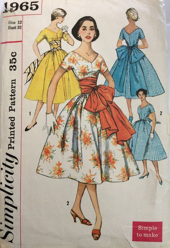 1950s rockabilly full skirt dress Simplicity 1965 vintage sewing ...