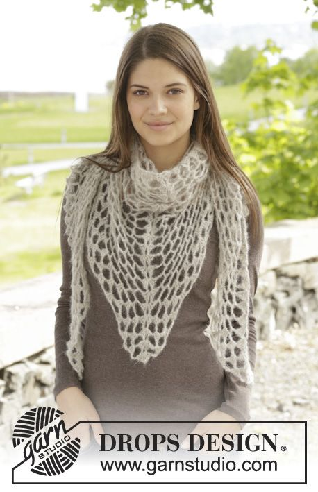 "Crochet DROPS shawl with lace pattern in ""Brushed Alpaca Silk ..."