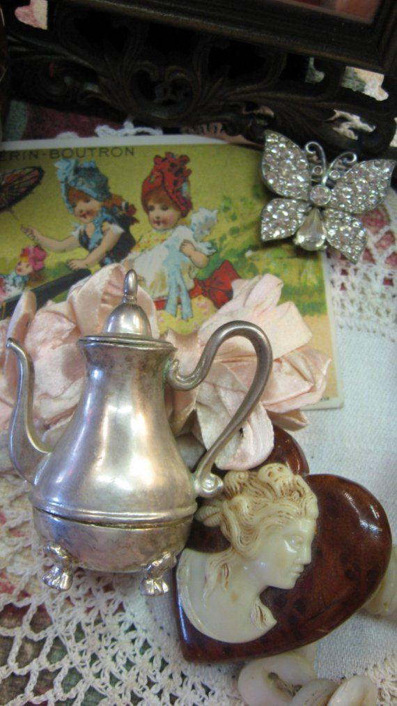 Vintage Silver Bell Teapot Lunt USA E.P. Pewter 2 by MOJEART
