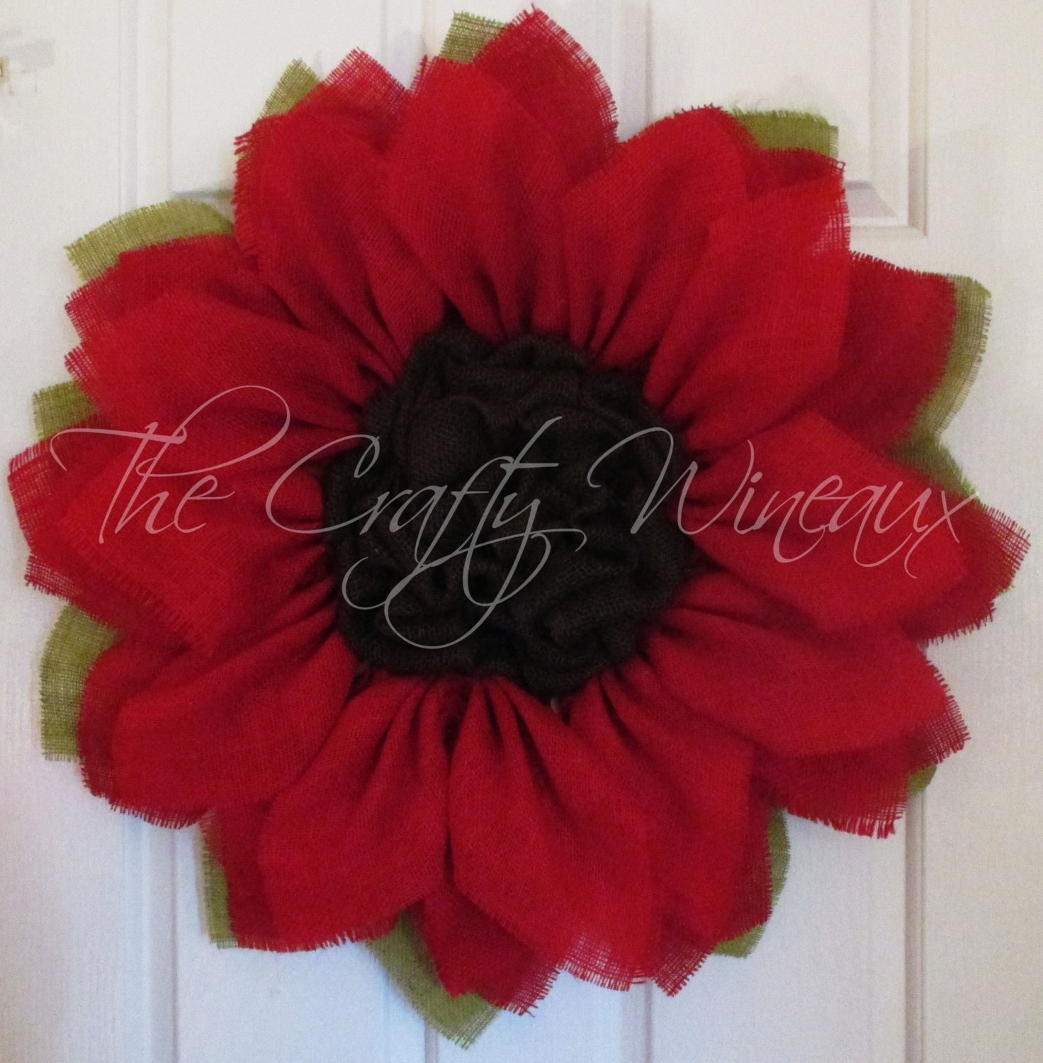 Photo of Free Shipping! Bright red burlap sunflower wreath, sunflower door holder, burlap wreath, spring flower wreath, summer sunflower