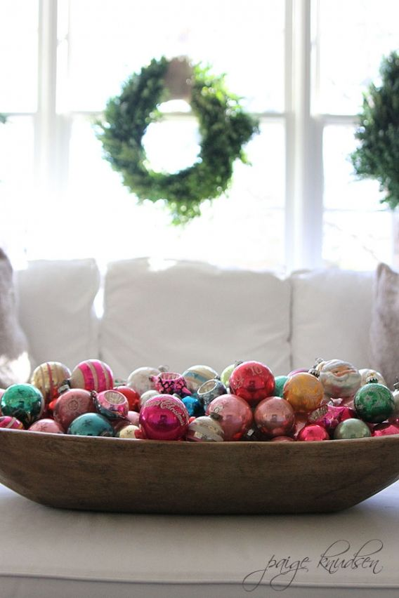 Wooden Bowl Decorating Ideas Large Wooden Bowl Of Ornaments In The Living Room  Holiday Decor