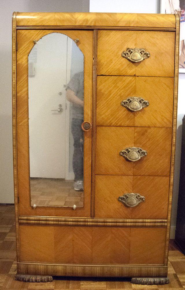 Details About Antique 1930's Light Wood Dresser Wardrobe